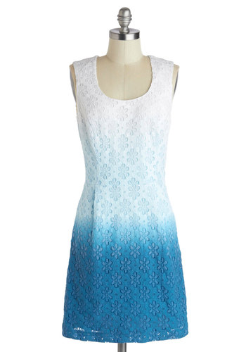 My Place or Shores? Dress by Kensie - Mid-length, Blue, White, Ombre, Eyelet, Shift, Scoop, Daytime Party, Graduation, Sleeveless, Summer