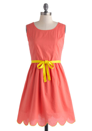 Sipping at Sundown Dress by Tulle Clothing - Cotton, Mid-length, Pink, Solid, Cutout, Scallops, Belted, A-line, Sleeveless, Scoop, Daytime Party, Summer
