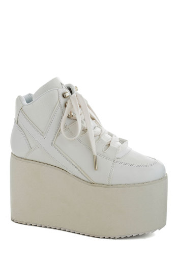 Take the Hi Road Flatform - White, Solid, Vintage Inspired, 90s, Urban, High, Platform, Wedge, Lace Up, Casual, Girls Night Out, Statement, Faux Leather