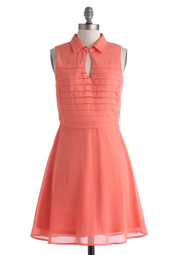 Shop and Smell the Roses Dress - Pastel, Mid-length, Coral, Solid, Cutout, Party, A-line, Sleeveless, Collared, Pleats, Daytime Party, Spring, Summer