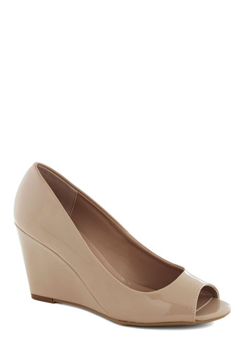 Rise and Shiny Wedge - Tan, Solid, Wedding, Work, Wedge, Peep Toe, Mid, Party, Minimal, Faux Leather