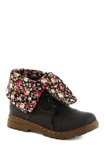 Backyard Beats Boot - Black, Multi, Floral, Military, Lace Up, Solid, Casual, Vintage Inspired, 90s, Low, Faux Leather, Fall