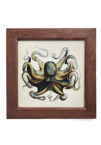 Deep Sea in Thought Framed Print - Multi, Nautical, Brown, Print with Animals, Good