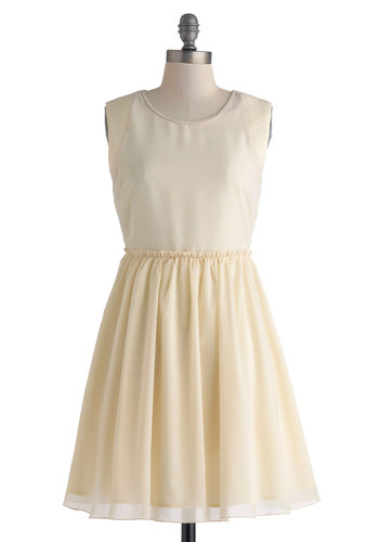 Va-Va-Vanilla Dress - Mid-length, Cream, Solid, Crochet, Ruffles, Party, A-line, Sleeveless, Scoop, Trim, Daytime Party, Fairytale, Wedding