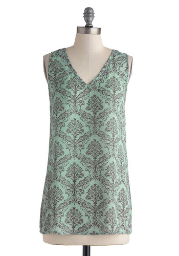Glance of Glam Top - Sheer, Long, Mint, Black, Print, Cutout, Casual, Daytime Party, Sleeveless, Summer, V Neck, Green, Sleeveless