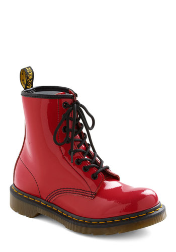 Tread Brightly Boot in Red by Dr. Martens - Red, Solid, 90s, Leather, Low, Lace Up, Quirky