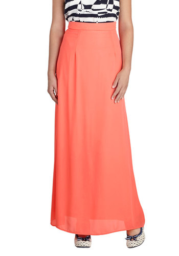 Brighten the Night Skirt in Coral - Long, Coral, Solid, Party, Minimal, Maxi, Variation, Basic, Good