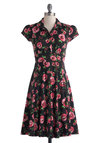 Author's Autograph Dress - Long, Black, Green, Pink, Floral, Buttons, Shirt Dress, Cap Sleeves, Collared, Work, Casual, Vintage Inspired, Spring, Summer