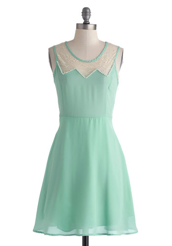 Dainty Delicacy Dress - Short, Mint, Tan / Cream, Solid, Lace, Pearls, Party, A-line, Sleeveless, Scoop, Wedding, Pastel, Sheer