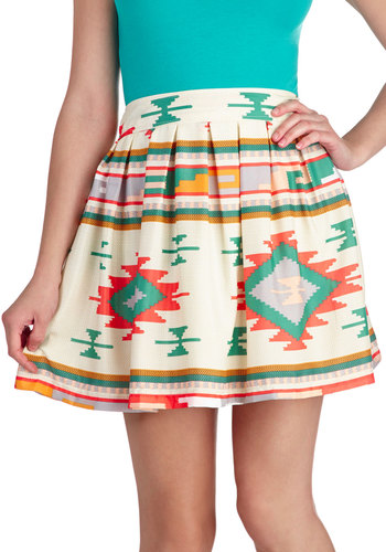 Sunset Out for Adventure Skirt - Orange, Green, Pink, Casual, A-line, Multi, Tan / Cream, Print, Summer, Short