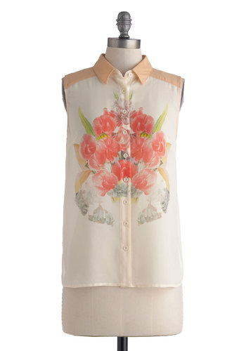 Flower Power Lunch Top - Multi, Orange, Green, Pink, Floral, Buttons, Sleeveless, Sheer, Mid-length, Daytime Party, Button Down, Spring, Summer, Collared