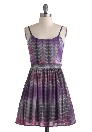 Chalk Artist Dress - Short, Purple, Pink, Grey, Tie Dye, Cutout, Fit & Flare, Spaghetti Straps, Scoop, Casual, Boho, A-line, Summer
