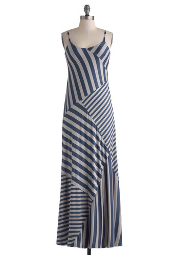 Plentiful Paths Dress - Long, Blue, Grey, Stripes, Casual, Maxi, Spaghetti Straps, Scoop, Beach/Resort, Summer, Basic, Fall