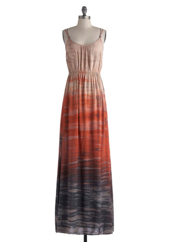 Born to Tie-Dye Dress - Long, Orange, Tan / Cream, Tie Dye, Casual, Maxi, Spaghetti Straps, Scoop, Blue, Ombre, Beach/Resort, Boho, Vintage Inspired, 70s, Summer, Fall