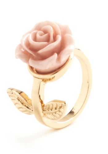 Retro Rosie Ring in Leaves - Pink, Gold, Solid, Flower, Fairytale, Party, Gold, Top Rated
