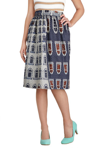 Upside Townhouse Skirt - Blue, Quirky, A-line, Cotton, Novelty Print, Casual, Exclusives, Mid-length, Blue