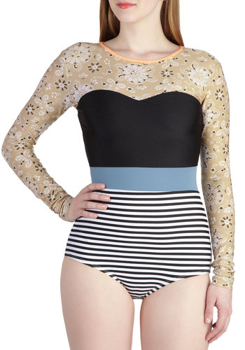 Soak Up the Fun One Piece by Seea - Multi, Blue, Tan / Cream, Black, Stripes, Floral, Beach/Resort, Long Sleeve, Summer