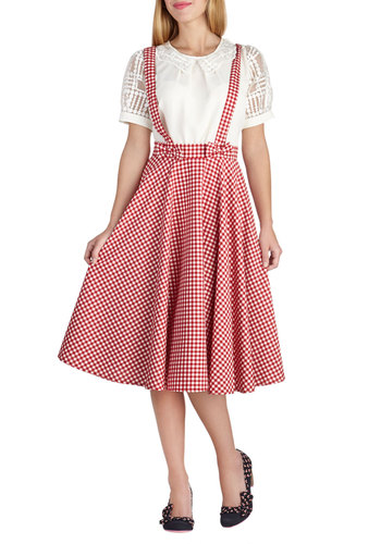 Life's Spin Good Skirt - Long, Red, White, Checkered / Gingham, Daytime Party, Vintage Inspired, 50s, A-line, Fit & Flare, Bows