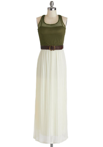 Look Your Fest Dress - Long, Green, White, Belted, Casual, Maxi, Racerback, Scoop, Beach/Resort, Twofer, Summer, Sheer, Fall