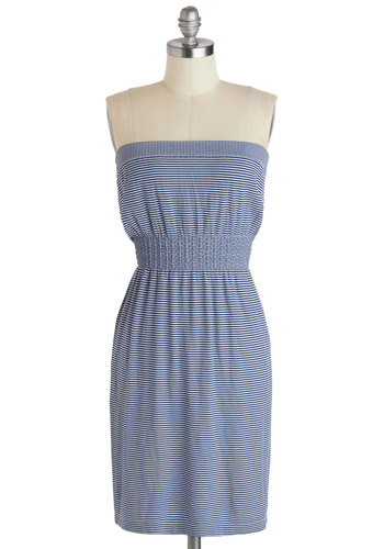 Heart and Stroll Dress - Short, White, Stripes, Casual, Sheath / Shift, Strapless, Blue, Beach/Resort, Summer