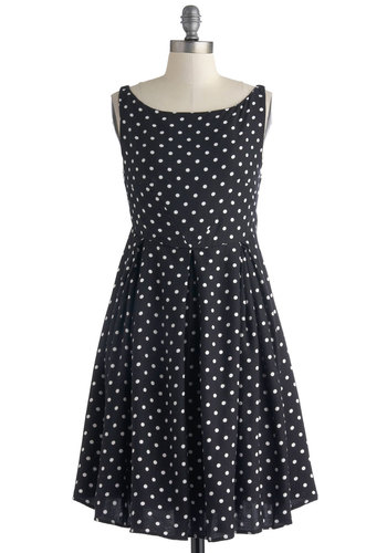 Surprise Lover Dress by Motel - Mid-length, Black, White, Polka Dots, Pleats, Vintage Inspired, A-line, Sleeveless, Scoop, Work, Casual