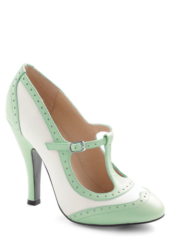 Specialty Sweets Heel in Mint - Mint, Solid, Cutout, Vintage Inspired, 20s, 30s, Pastel, Exclusives, High, Leather, White, T-Strap