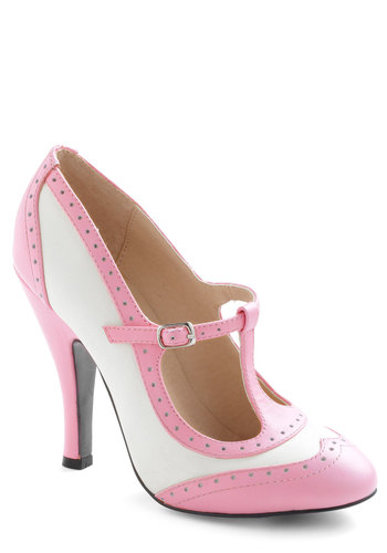 Specialty Sweets Heel in Bubblegum - Pink, Solid, Cutout, Vintage Inspired, 20s, 30s, Pastel, Exclusives, High, Leather, Party, White, T-Strap, Top Rated