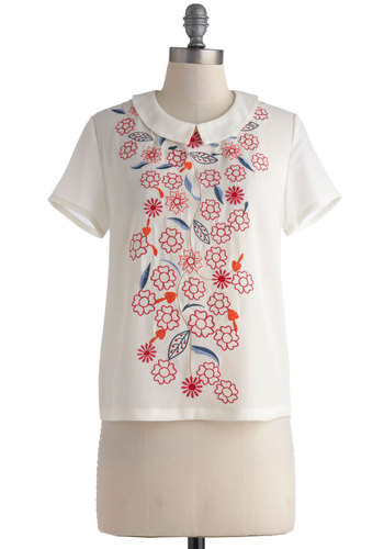 Flower Patch My Drift Top - White, Red, Orange, Embroidery, Short Sleeves, Spring, Collared, Blue, Floral, Casual, Daytime Party, Vintage Inspired, Folk Art, Summer, Mid-length, White, Short Sleeve