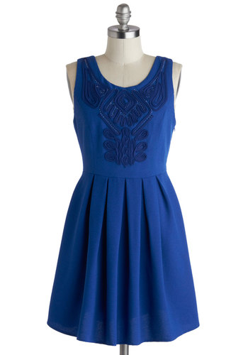 Confident in Cobalt Dress - Blue, Solid, Pleats, Party, A-line, Tank top (2 thick straps), Scoop, Beads, Knit, Mid-length