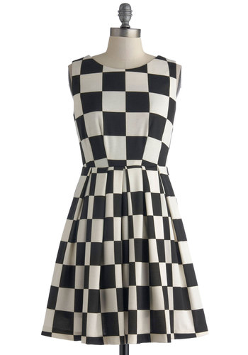 Room and Checkerboard Dress - Black, White, Checkered / Gingham, Pleats, Pockets, Party, A-line, Sleeveless, Scoop, Short, Knit