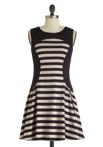 Cute and Casual Dress - Black, Tan / Cream, Stripes, Short, Cotton, Casual, Sleeveless, A-line