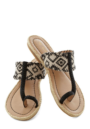 Canyon Cabin Sandal - Black, Tan / Cream, Print, Beach/Resort, Summer, Flat