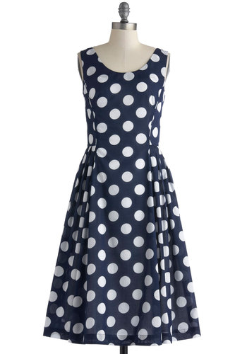 Classy Reunion Dress in Dots by Emily and Fin - Cotton, Long, Blue, White, Polka Dots, Pockets, Party, A-line, Sleeveless, Scoop, Vintage Inspired, 50s