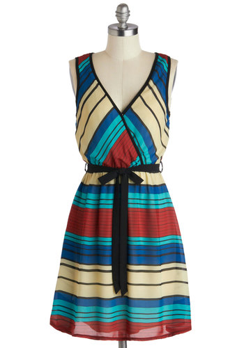 Positive Vibrance Dress - Mid-length, Red, Blue, Tan / Cream, Black, Stripes, Belted, Casual, A-line, Sleeveless, V Neck, Multi, Summer