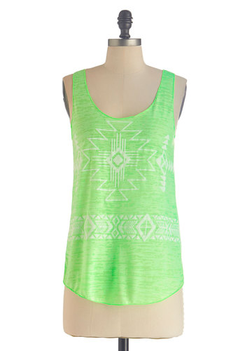 Hit the Open Road Top in Lime - Sheer, Mid-length, Green, Casual, Neon, Tank top (2 thick straps), White, Print, Travel, Summer, Variation, Scoop