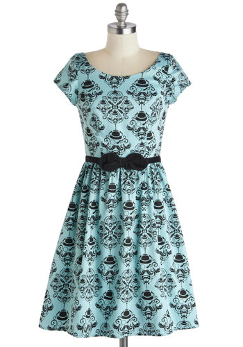 Turn of the Sensory Dress in Teal - Mid-length, Blue, Black, Print, Bows, A-line, Cap Sleeves, Scoop, Novelty Print, Quirky, Variation, Cotton, Statement, Casual, Spring