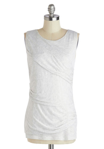 In Drape Demand Top - Mid-length, Grey, Solid, Casual, Sleeveless, Ruching, Scoop, Grey, Sleeveless