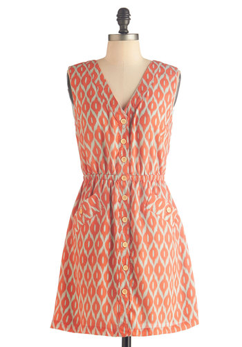 Cookout Queen Dress by Tulle Clothing - Short, Orange, Grey, Print, Buttons, Pockets, Casual, A-line, Sleeveless, V Neck, Summer