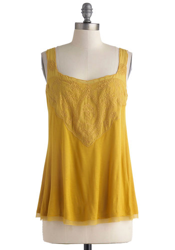Twice the Spice Top - Mid-length, Yellow, Solid, Eyelet, Casual, Tank top (2 thick straps), Summer, Sheer