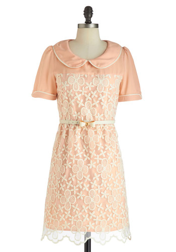Peony Patch Dress - Peter Pan Collar, Belted, Collared, Mid-length, Pink, Tan / Cream, Embroidery, Party, Shift, Short Sleeves, Scallops, Vintage Inspired, 60s, Pastel, Mod, Spring, Summer