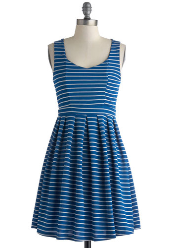 Love on the Line Dress - Mid-length, Blue, White, Stripes, Cutout, Exposed zipper, Casual, A-line, Tank top (2 thick straps), Scoop, Summer, Gifts Sale