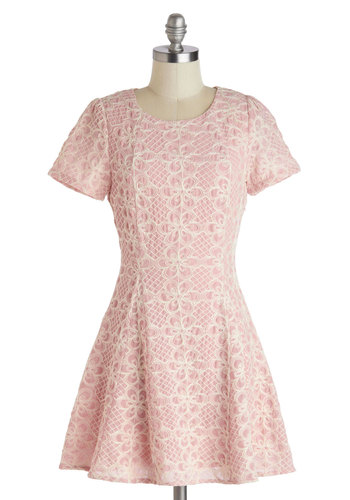 Feminine and Fun Dress - Pink, Tan / Cream, Lace, Party, A-line, Short Sleeves, Scoop, Daytime Party, Pastel, Mini, Short, Lace