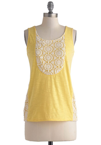 Squash Blossom Top - Mid-length, Yellow, White, Solid, Crochet, Casual, Tank top (2 thick straps), Summer, Scoop, Yellow, Sleeveless