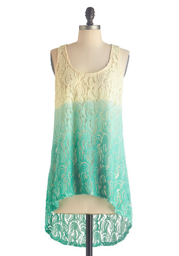 Strolling in the Sunshine Top - Ombre, Lace, Tank top (2 thick straps), Sheer, Mid-length, Blue, Tan / Cream, Casual, Beach/Resort, Boho, Summer, Scoop