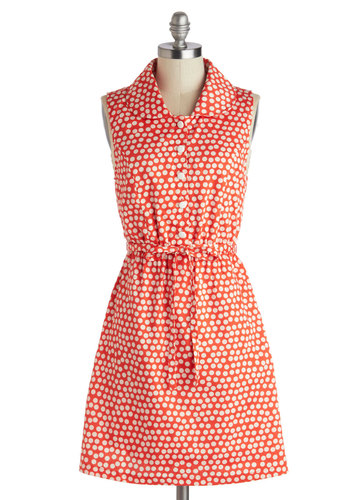 Above the Fold Dress by Tulle Clothing - Cotton, Mid-length, Red, White, Polka Dots, Buttons, Pockets, Belted, Casual, Shirt Dress, Sleeveless, Collared, Vintage Inspired