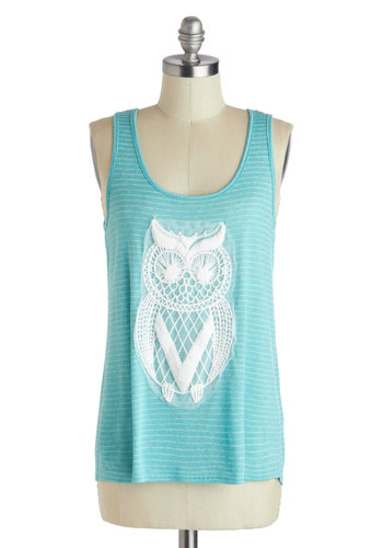 Owl Eyes on You Tank - Mid-length, White, Print with Animals, Crochet, Casual, Tank top (2 thick straps), Blue, Beach/Resort, Summer, Cotton, Scoop, Owls