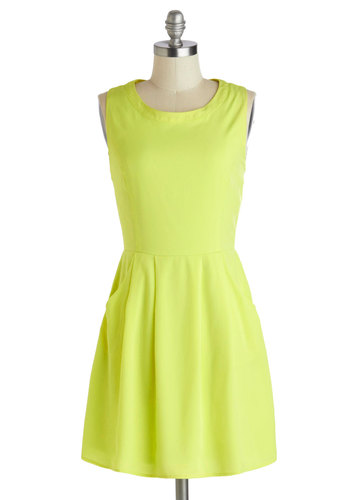 Have It Your Ray Dress - Short, Yellow, Solid, Cutout, Pockets, Party, A-line, Sleeveless, Scoop, Neon