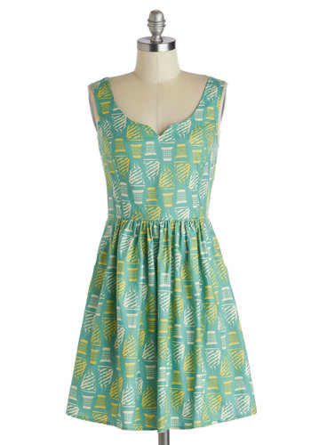 Serving of Style Dress - Cotton, Short, Yellow, White, Novelty Print, Pockets, Casual, A-line, Tank top (2 thick straps), Mint, Daytime Party, Quirky, Summer, Exclusives
