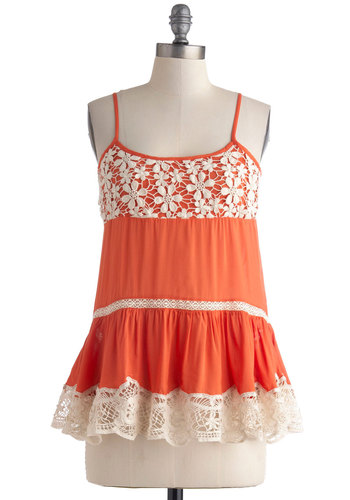 Artist Walk Top - Mid-length, Orange, Tan / Cream, Solid, Crochet, Lace, Spaghetti Straps, Casual, Boho, Vintage Inspired, 70s, Summer, Scoop
