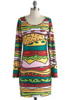 All the Fixin's Dress - Multi, Party, Bodycon / Bandage, Long Sleeve, Scoop, Novelty Print, Short, 90s, Knit, Statement